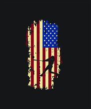 American Flag Baseball T-shrt. Printable Graphic Design For Any Item.