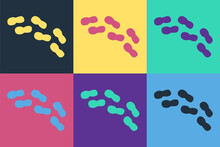 Pop Art Human Footprints Shoes Icon Isolated On Color Background. Shoes Sole. Vector.