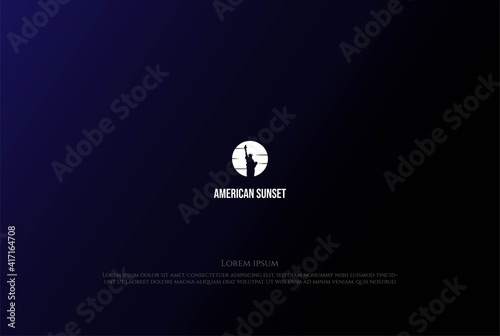 Canvas-taulu Sunrise Sunset or Moon with Liberty Statue Logo Design Vector