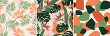 Modern Artistic Bright Collage With Tropical Leaves, Simple Shapes, And Strelitzia Flowers. A Set Of Seamless Patterns. Contemporary Exotic Design For Paper, Cover, Fabric, Wallpaper, Interior. Vector