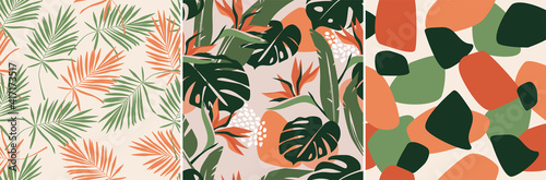 Fotografia, Obraz Modern artistic bright collage with tropical leaves, simple shapes, and strelitzia flowers