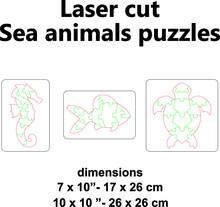 Laser Cut Vector Template Laser Cut Design Laser Cut Pattern Wooden Jigsaw Puzzle Sea Animals Fish Seahorse Sea Turtle