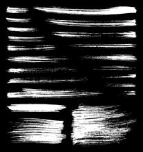 Vector Whitt Brush Splatters On Black Background