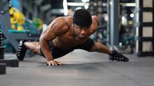 Motivated Black Guy Bodybuilder Doing Some Push-ups