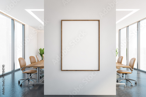 Carta da parati Mockup frame on a wall in office conference room with furniture and windows