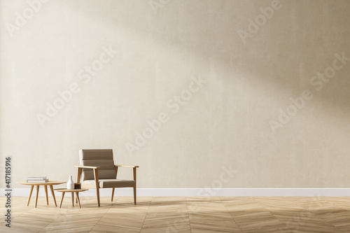 Loft and vintage interior of living room. Beige armchairs on white flooring and wall. 3d rendering