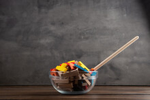 Creative Idea Concept - Wooden Puzzle In Bowl With Spoon. Develop New Idea, Food For Inspiration.