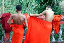 Young Monks Wearing Kasaya In A Buddhist Pagoda. Kep. Cambodia.  25.02.2017