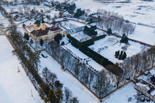 Stoczek Klasztorny Church And Monastery From Above During Winter Time, Poland