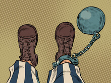 A Prisoner With A Ball On His Leg Feet Shoes Profession
