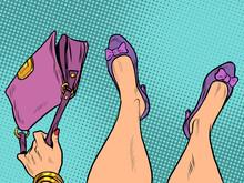Lady Fashionista With Handbag Feet Shoes Profession