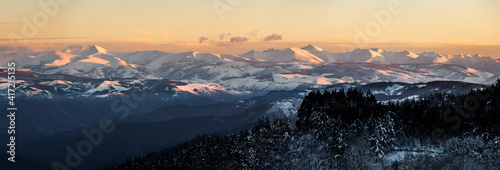 Panoramic view of the Sierra de Ancares at sunset seen from A Fonsagrada (Lugo).