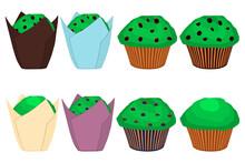 Illustration On Theme Irish Holiday St Patrick Day, Big Set Green Muffins