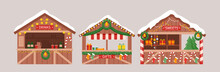 Christmas Market Stalls Kiosks Set, Market Seller With New Year Food, Hot Drink, Gifts