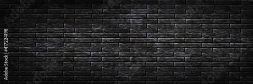 Valokuva Vector realistic isolated panoramic black brick wall background for template and layout decoration