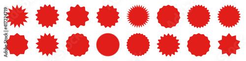 Obraz Red shopping labels collection. Sale or discount sticker. Special offer price tag. Supermarket promotional badge. Vector sunburst icon. - fototapety do salonu