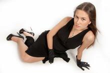 Feet Girl In High Heels. Black Dress To Wear On A Girl.