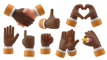 Black Hands Gestures 3D Cartoon Friendly Funny Style Isolated On White Background
