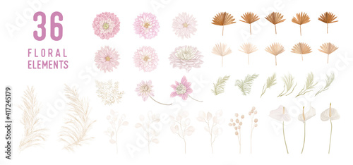 Fotografie, Obraz Dried lunaria flowers, dahlia, pampas grass, tropical palm leaves vector bouquets