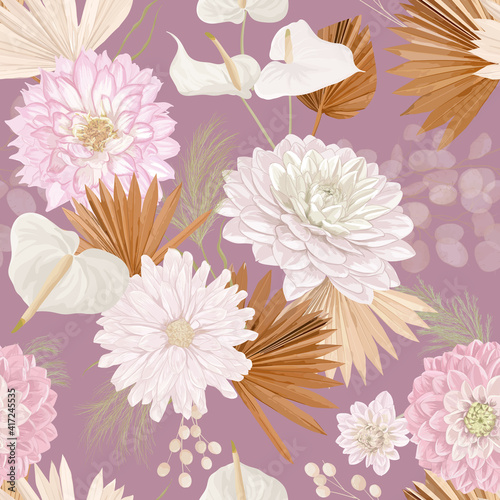 Watercolor dahlia flower, palm leaves, pampas grass, lunaria vector seamless background. Jungle dried flowers