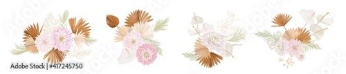 Foto Set of watercolor dry flowers vector set