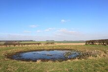 Small Dew Pond In The Scenic Landscape Of The Yorkshire Wolds In February