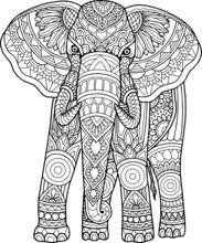 Elephant Head Coloring Page Mandala Design. Print Design. T-shirt Design.