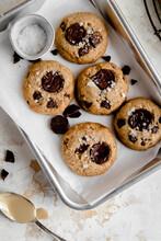Tahini Chocolate Chunk Cookies With Sea Salt