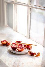 Blood Oranges Sliced On A Plate