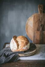 Homemade Sourdough Bread In A Rustic Kitchen