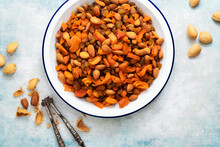 Almonds, Dried Sultanas And Diced Apricots On A Plate.