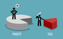 Taxpayer Unhappy With Business Revenue Or Profit Being Taxed By The Government IRS. Vector Illustration Concept Of Tax Return Obligation, Financial Burden, Taxation, And Auditor.