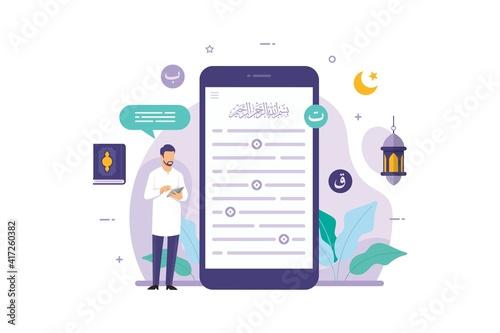 Fotografie, Obraz Muslim people reading the quran on smartphone mobile app vector illustration