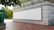 Mock Up Blank Horizontal Billboard On Wall Of Building Rendering