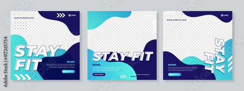 Slika na platnu Sports social media post design template Premium Vector