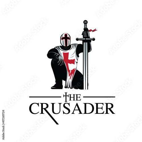Fototapeta Crusader Knight vector illustration symbol