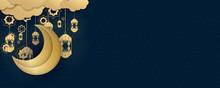 Blue Gold Ramadan Kareem Islamic Greeting Card Background Vector Illustration. Ramadan Kareem Set Of Posters Or Invitations Design With 3d Paper Cut Islamic Lanterns, Stars And Moon On Gold And Blue