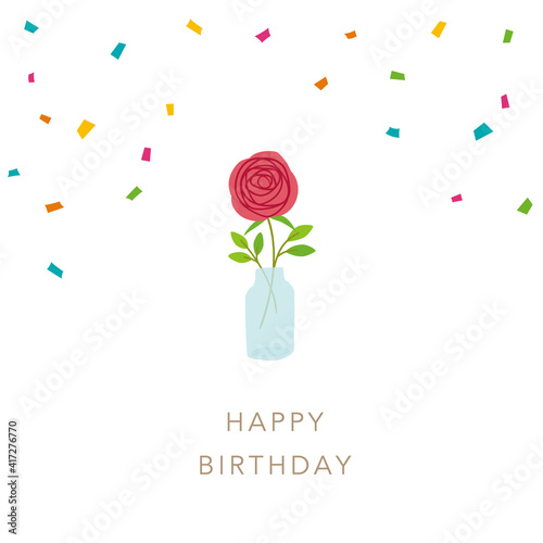 Canvas Print Happy birthday, Vector illustration of rose flowers for birthday card