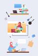 set arab chefs preparing food online cooking virtual culinary school concept portrait vertical vector illustration