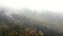 Aerial Of Fog Along River. Impressionist Painter Effect During Autumn Fall Foliage Scene. Colorful Magical Scene.