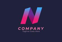 Letter N Logo, Monogram Letter N Ribbon Style, Design Logo Template, Vector Illustration