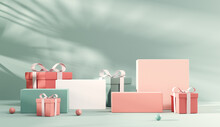 Abstract Minimal Scene Cosmetic Pastel Background With Gift Box For Product Presentation. Tropical Leaves Natural Shadow On White Wall Texture Background, Spring And Summer Seasonal, 3d Render.