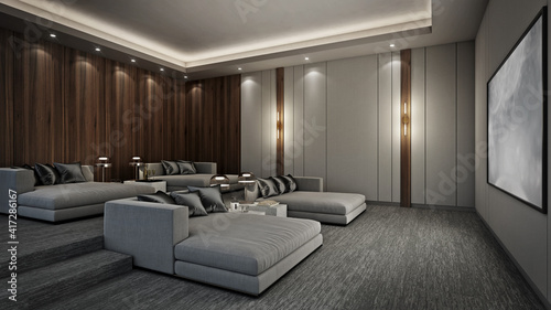 Obraz Sofa bed in modern home theater room, 3D render - fototapety do salonu