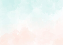 Watercolor Light Green And Old Rose Peach Pink Splash Background