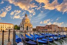 Venice Italy, Sunset City Skyline At Venice Grand Canal And Basilica Di Santa Maria Della Salute