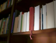 Brown Leather Holy Bible On Shelf With Other Books
