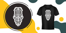The Mask Of The Gods In The Form Of Maori Patterns. Outline For T-shirts, Cups, Flags, Phone Cases And Prints. Vector