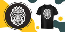 The Mask Of The Gods In The Form Of Maori Patterns. A Ready-made Template For Your Print On A T-shirt, Cup Or Mobile Case. Vector Illustration.