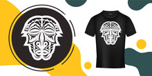 The Mask Of The Gods In The Form Of Maori Patterns. A Ready-made Template For Your Print On A T-shirt, Cup Or Mobile Case. Vector