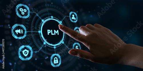 Obraz na plátně PLM Product lifecycle management system technology concept